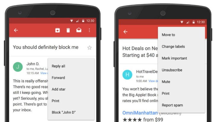 """Gmail App finally lets you """"Block annoying sender"""" and"""